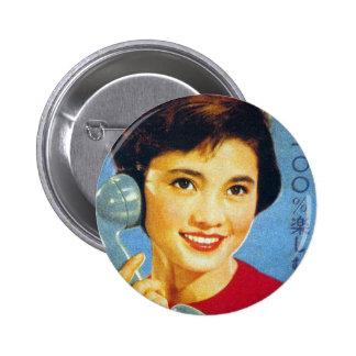 Vintage Retro Women Japan Advertisment Telephone Pinback Buttons