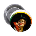 Vintage Retro Women Jester Puppeteer Woman Buttons
