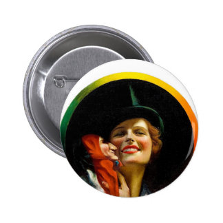 Vintage Retro Women Jester Puppeteer Woman Pinback Button