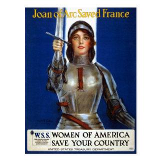 Vintage Retro Women Joan of Arc Saved France Postcard