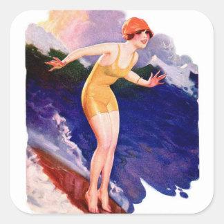 Vintage Retro Women Kitsch 20s Surfing Surfer Square Sticker