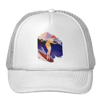 Vintage Retro Women Kitsch 20s Surfing Surfer Trucker Hat
