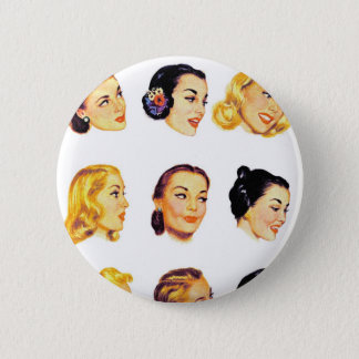 Vintage Retro Women Kitsch 50s Head Portraits Button