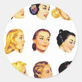 Vintage Retro Women Kitsch 50s Head Portraits Classic Round Sticker