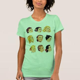 Vintage Retro Women Kitsch 50s Head Portraits T-shirt