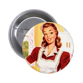 Vintage Retro Women Kitsch 50s Kitchen Magic Button