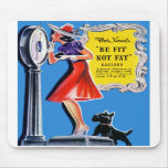 Vintage Retro Women Kitsch Be Fit, Not Fat Book Mouse Pad