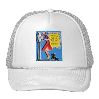 Vintage Retro Women Kitsch Be Fit, Not Fat Book Trucker Hat