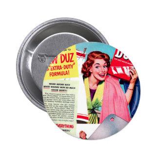 Vintage Retro Women Kitsch Duz Ad, Free Cleaver! Button