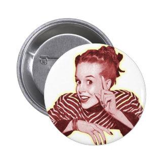 Vintage Retro Women Kitsch Excuse Me? Girl 2 Inch Round Button