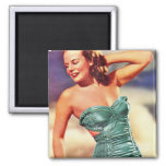 Vintage Retro Women Kitsch Forties Swimsuit Girl 2 Inch Square Magnet