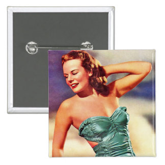 Vintage Retro Women Kitsch Forties Swimsuit Girl 2 Inch Square Button