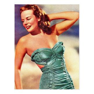 Vintage Retro Women Kitsch Forties Swimsuit Girl Postcard