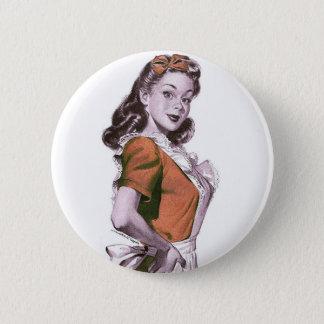 Vintage Retro Women Kitsch Happy Housewife Button