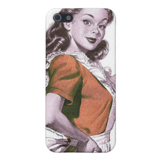 Vintage Retro Women Kitsch Happy Housewife Case For iPhone SE/5/5s