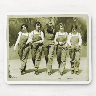 Vintage Retro Women Kitsch Jeans Overalls Girls Mouse Pad