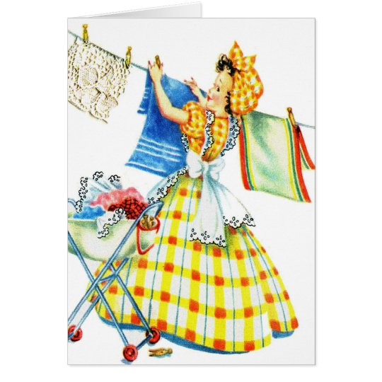 Vintage Retro Women Kitsch Laundry Day Card