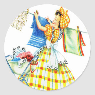 Vintage Retro Women Kitsch Laundry Day Classic Round Sticker