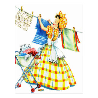 Vintage Retro Women Kitsch Laundry Day Postcard