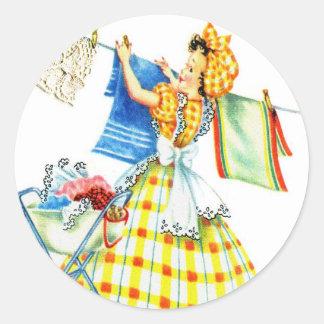 Vintage Retro Women Kitsch Laundry Day Stickers