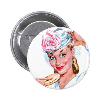 Vintage Retro Women Kitsch New Spring Hat Pinback Buttons