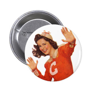 Vintage Retro Women Kitsch Smoking Cheerleader Pins