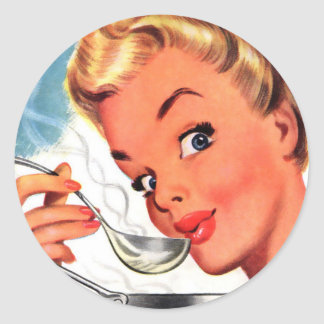 Vintage Retro Women Kitsch Soups Ready! Ad Classic Round Sticker