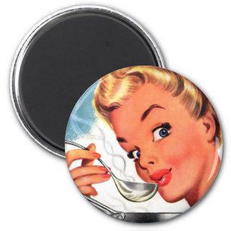 Vintage Retro Women Kitsch Soups Ready! Ad Magnet