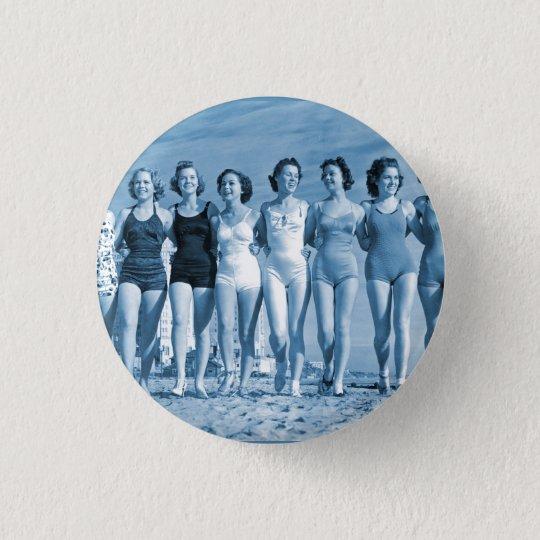 Vintage Retro Women Kitsch Surfing Beach Nuts Button