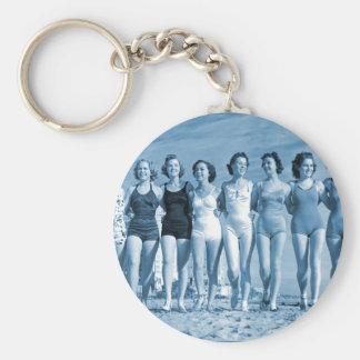 Vintage Retro Women Kitsch Surfing Beach Nuts Keychain