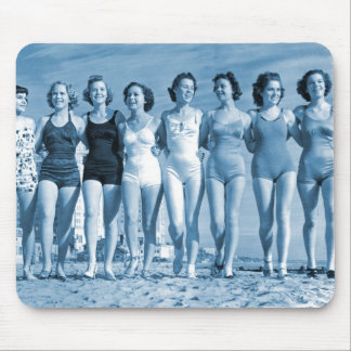 Vintage Retro Women Kitsch Surfing Beach Nuts Mouse Pad