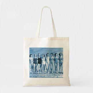 Vintage Retro Women Kitsch Surfing Beach Nuts Tote Bag