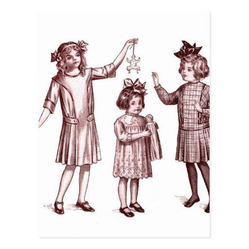 Vintage Retro Women Kitsch Victorian Girls Fashion Postcard
