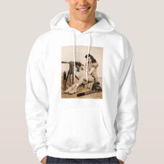 Vintage Retro Women Machine Gunner Girl Hooded Sweatshirts