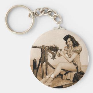 Vintage Retro Women Machine Gunner Girl Basic Round Button Keychain