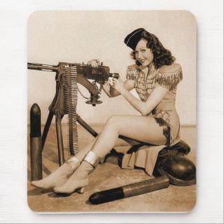 Vintage Retro Women Machine Gunner Girl Mouse Pad