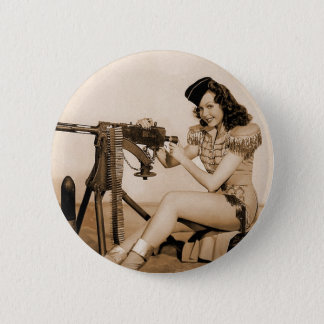 Vintage Retro Women Machine Gunner Girl Pinback Button