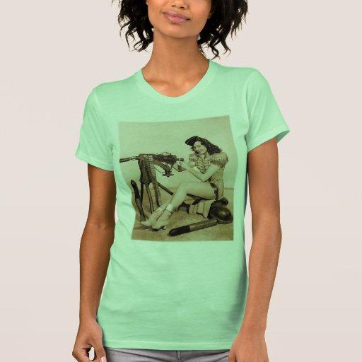 Vintage Retro Women Machine Gunner Girl T-shirts
