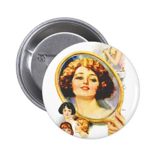 Vintage Retro Women Magazine 20s Shampoo Ad Pinback Button