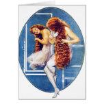 Vintage Retro Women Magazine Illustration Red Hair Cards