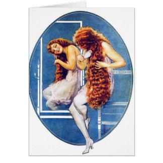 Vintage Retro Women Magazine Illustration Red Hair Card
