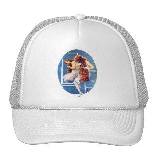 Vintage Retro Women Magazine Illustration Red Hair Trucker Hat