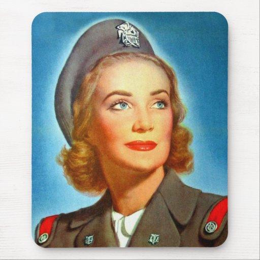Vintage Retro Women Military los U.S. Nurse Corp Alfombrillas De Ratón