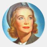 Vintage Retro Women Military los U.S. Nurse Corp Etiquetas Redondas