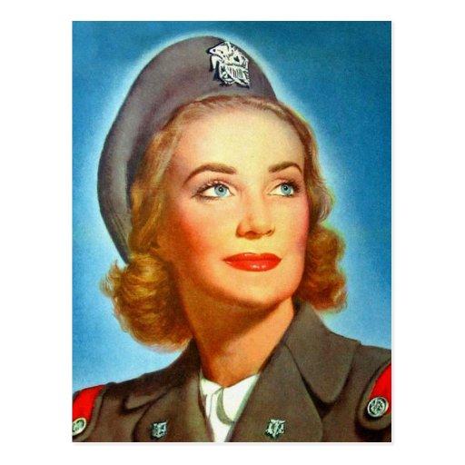 Vintage Retro Women Military los U.S. Nurse Corp Tarjeta Postal