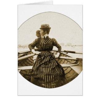 Vintage Retro Women Photo Row Row Row Your Boat Card