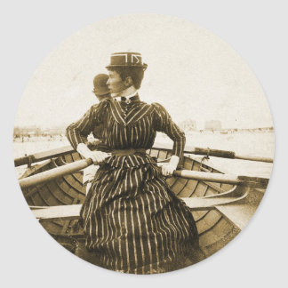 Vintage Retro Women Photo Row Row Row Your Boat Classic Round Sticker
