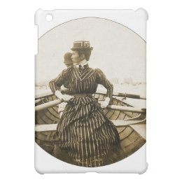 Vintage Retro Women Photo Row Row Row Your Boat iPad Mini Cases