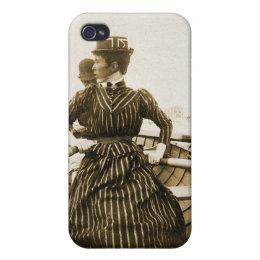 Vintage Retro Women Photo Row Row Row Your Boat iPhone 4 Case