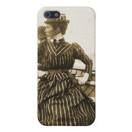 Vintage Retro Women Photo Row Row Row Your Boat iPhone SE/5/5s Cover